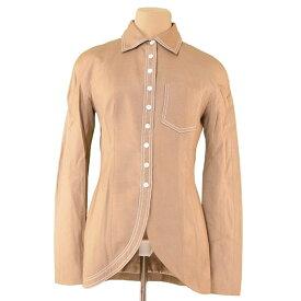 【中古】 ディオール Dior ジャケット 胸ポケット付き レディース ♯USA6サイズ ベージュ×ホワイト VI 88%Linen 12%(裏地)シルクSilk 100% T3702 .