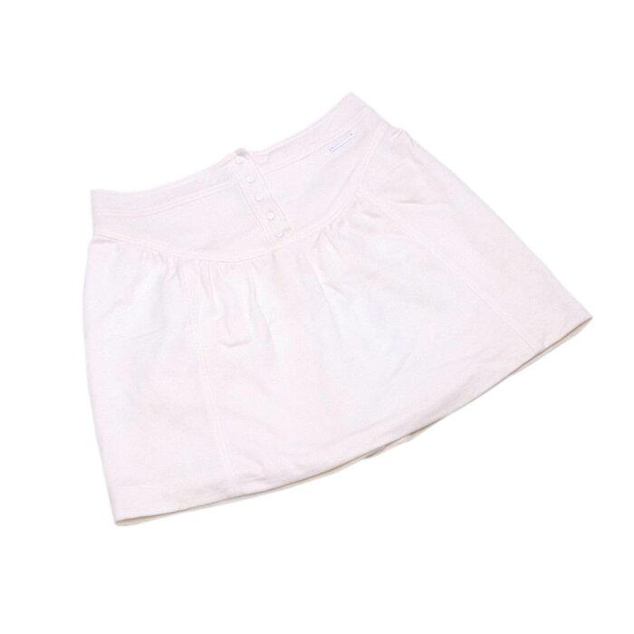 【中古】 ルイ ヴィトン Louis Vuitton スカート ロゴボタン ミニ レディース ♯38サイズ フレアー アイボリー×ホワイト コットン100%(裏地)コットン100% 人気 T3756 .