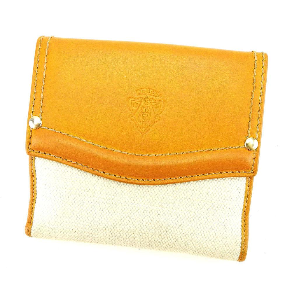 【中古】 グッチ Gucci Wホック 財布 財布 二つ折り ベージュ×キャメル×ゴールド クレストディティール レディース メンズ 可 T3959s
