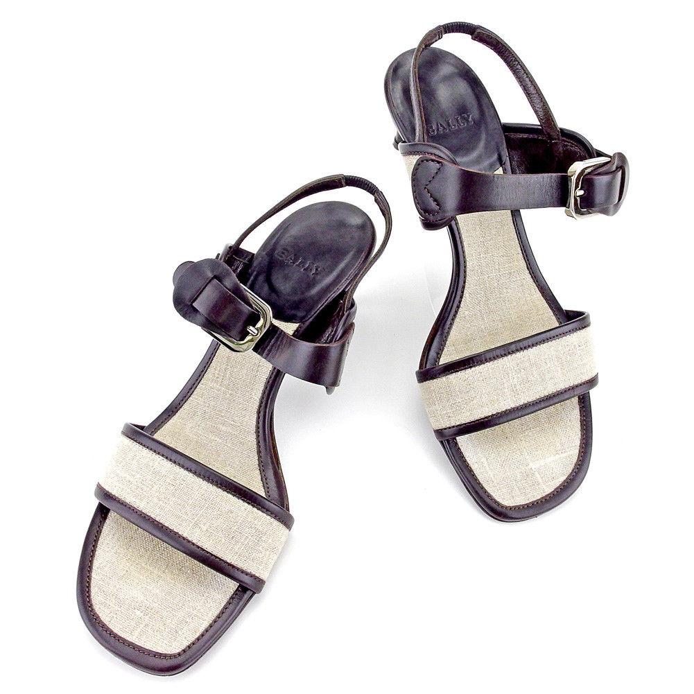 【中古】 バリー BALLY サンダル シューズ 靴 レディース ♯36EU スリングバック ダブルバンド ベージュ×ブラウン×シルバー キャンバス×レザー 美品 T4211