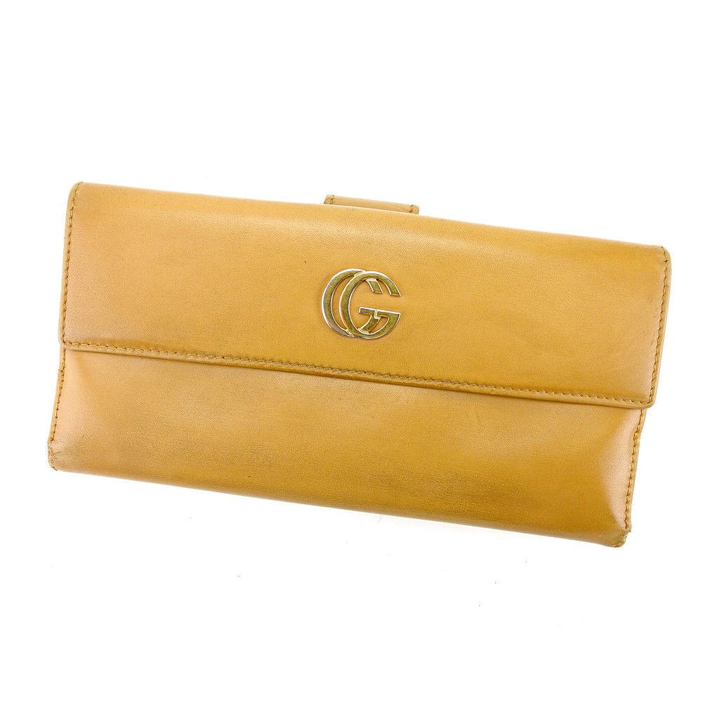 【中古】 グッチ Gucci 長財布 財布 財布 財布 Wホック キャメル×ゴールド ダブルG レディース メンズ 可 T4396s