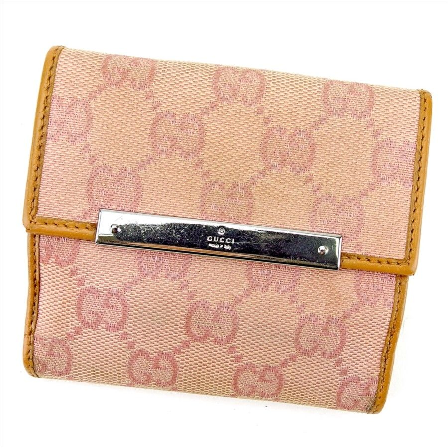 【中古】 グッチ Gucci Wホック 財布 財布 二つ折り ピンク×キャメル×シルバー ロゴプレート GGキャンバス レディース T4457s