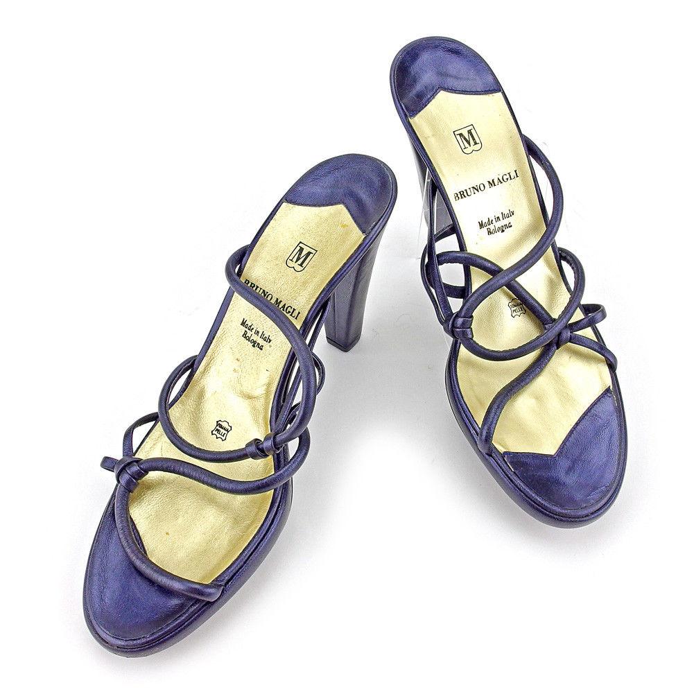 【中古】 ブルーノ マリ サンダル シューズ 靴 Bruno Magli ダークパープル×ゴールド T4573s