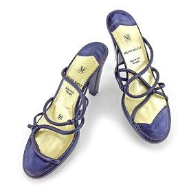 【値引きクーポン】 【中古】 ブルーノ マリ BRUNOMAGLI サンダル シューズ 靴 レディース ♯38ハーフ ハイヒール ダークパープル×ゴールド レザー T4573 .
