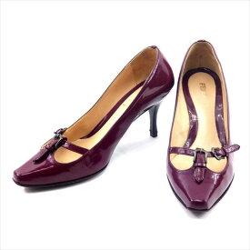 【中古】 フェンディ FENDI パンプス 靴 シューズ レディース #35ハーフ パープル エナメルレザー 人気 T4746 .