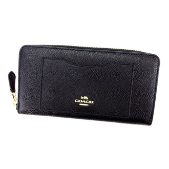 Coach COACH long wallet lady's men's possible black black type push leather used T4807