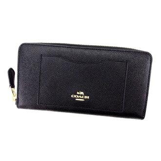 Coach COACH long wallet lady's men's possible black black type push leather-free T4808.