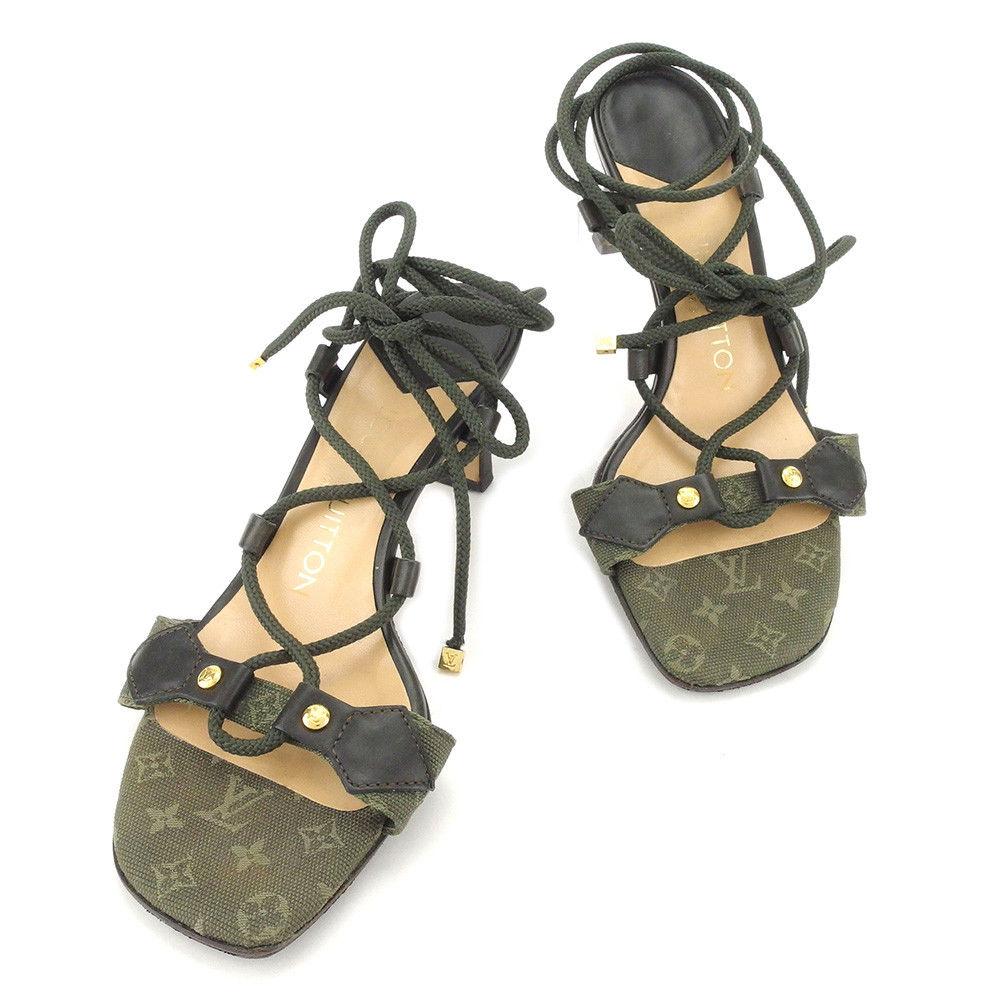 【楽天スーパーSALE】 【20%オフ】 【中古】 ルイ ヴィトン LOUIS VUITTON サンダル 靴 シューズ レディース #34 モノグラムミニ グリーン エナメルレザー 人気 良品 T4992