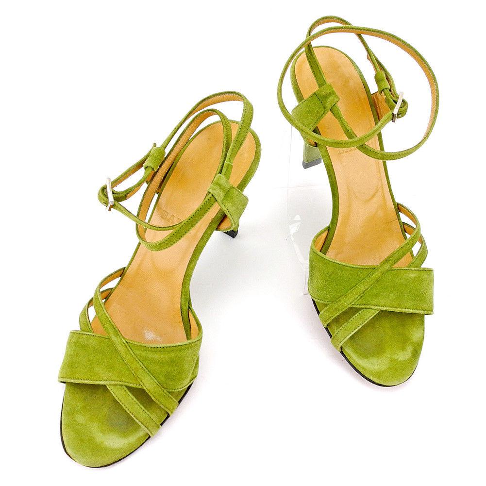 【中古】 バリー BALLY サンダル シューズ 靴 レディース ♯37 アンクルストラップ クロスデザイン グリーン シルバー系 スエード 良品 T5418