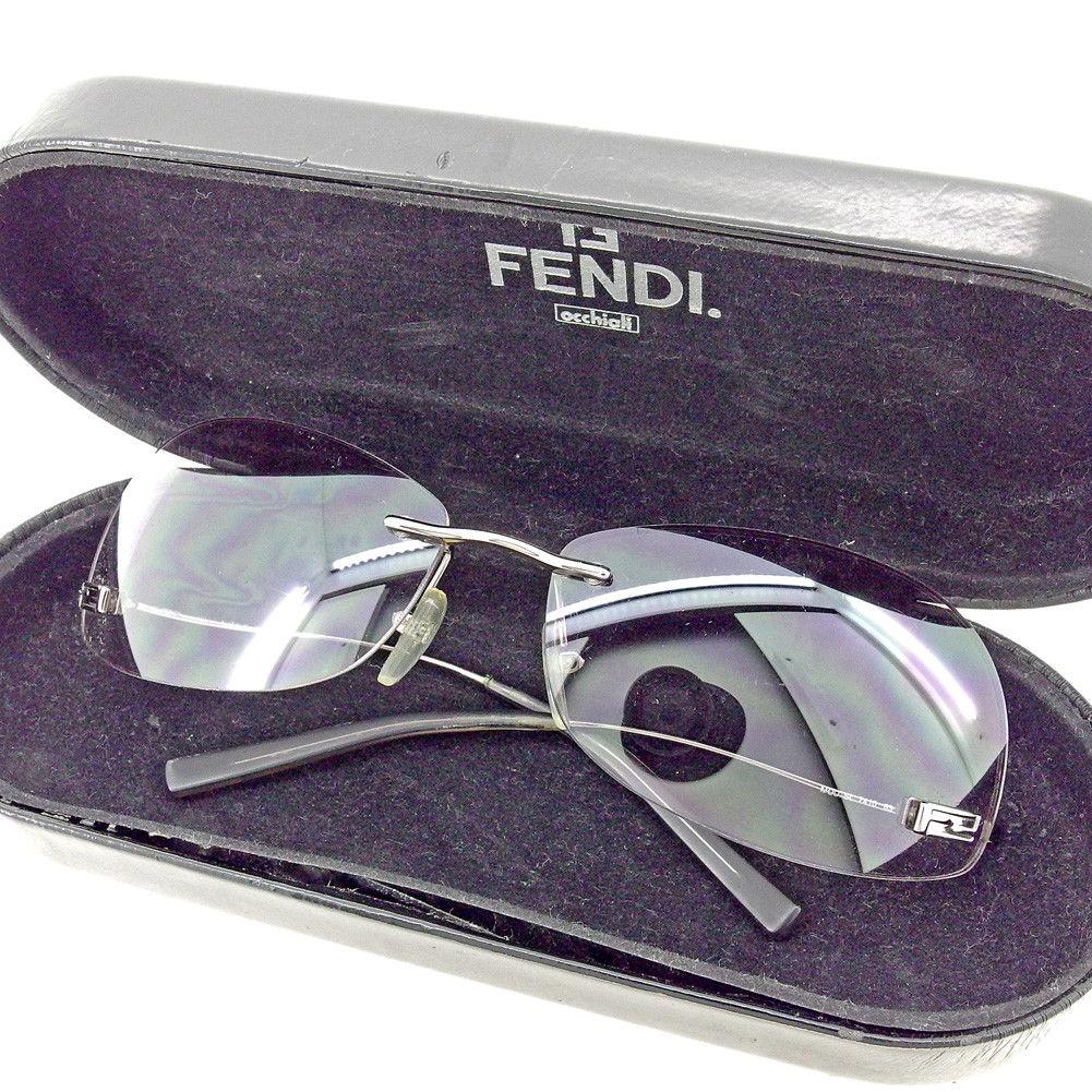 【中古】 フェンディ FENDI サングラス メガネ アイウェア レディース メンズ 可 アンダーテンプル FFマーク グレー 灰色 シルバー プラスチック×シルバー金具 人気 T5480