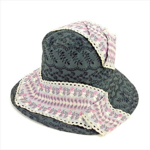 【中古】 ヴィヴィアン ウエストウッド Vivienne Westwood 帽子 ハット レディース フラワーレース ブラック グレー 灰色 ピンク系 綿100%刺繍糸レーヨン100% 人気 T5580 .