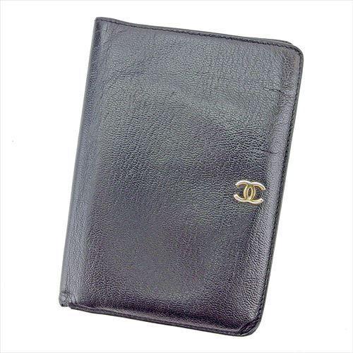 【中古】 シャネル CHANEL 二つ折り 財布 パスポートケース レディース メンズ 可 オールドグッチ ココマーク ブラック ゴールド レザー ヴィンテージ 人気 T5726 .