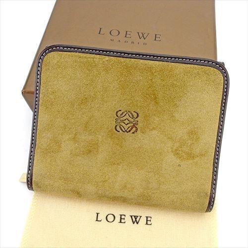 【楽天スーパーSALE】 【20%オフ】 【中古】 ロエベ LOEWE 二つ折り 財布 ラウンドファスナー メンズ可 ライトブラウン ブラウン ゴールド スエードレザー 美品 T5837