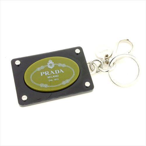 【中古】 プラダ PRADA キーホルダー キーリング レディース メンズ 可 ロゴ ブラック プラスチック 人気 T5992 .