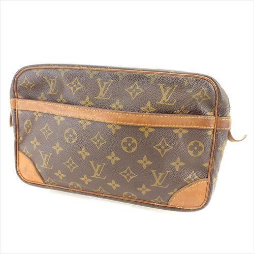 【中古】 ルイ ヴィトン クラッチバッグ セカンドバッグ Louis Vuitton ブラウン ベージュ ゴールド T6068s