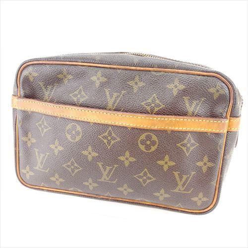 【中古】 ルイ ヴィトン クラッチバッグ セカンドバッグ Louis Vuitton ブラウン ベージュ ゴールド T6410s