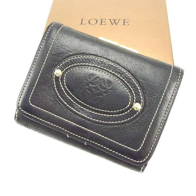 【中古】 ロエベ Loewe がま口財布 財布 ブラック レディース Y2269s .