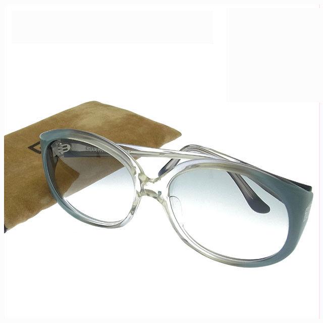 【中古】 ジバンシィ GIVENCHY サングラス メガネ メンズ可 サイドロゴモチーフ入り スクエア型 ELKA-104 クリアグレー系 プラスティック (あす楽対応)良品 Y2751 .