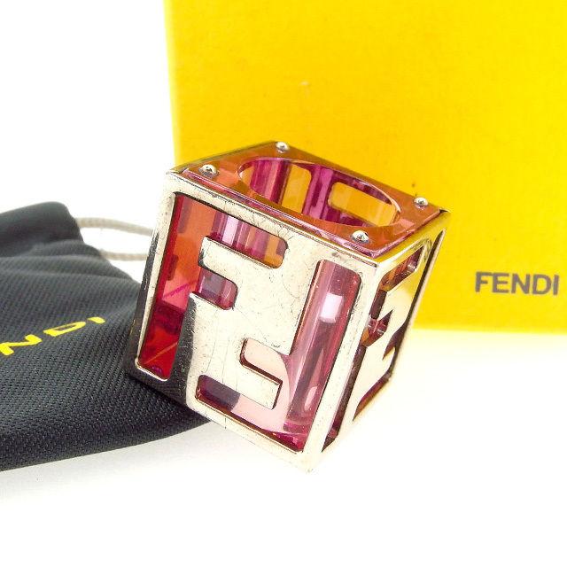【中古】 フェンディ Fendi 指輪 リング ピンク×シルバー ズッカ レディース Y2939s