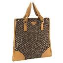 dd8dd8b7d748 Prada PRADA handbag tote bag Lady's logo plate B11268 beige X brown X  silver system canvas X leather (correspondence) quality goods sale Y3107