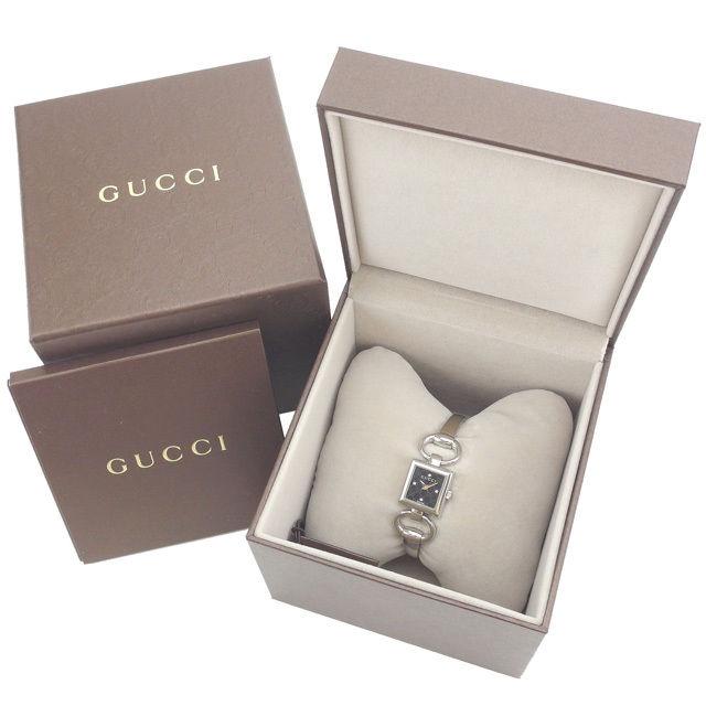 【中古】 グッチ GUCCI 腕時計 クォーツ レディース ダイヤモンド入り文字盤 スクエアフェイス GG柄 YA120507 シルバー×ブラック ステンレススチール×サファイアガラス×ダイヤモンド (あす楽対応) 未使用 Y3180 .