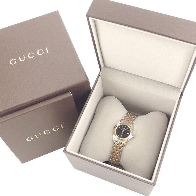 【中古】 グッチ GUCCI 腕時計 クォーツ レディース Gクラス ラウンドフェイス ロゴ YA055537 5505L シルバー×ピンクゴールド×ブラック ステンレススチール×サファイアガラス (あす楽対応) 未使用 Y3181 .