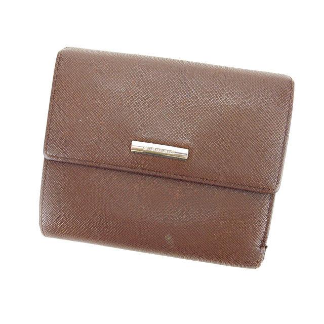 【中古】 バーバリー BURBERRY Wホック財布 二つ折り コンパクトサイズ メンズ可 ロゴプレート ブラウン×シルバー レザー (あす楽対応)激安 Y3316 .