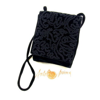 It is entering shoulder mini-size Lady's embroidery black velour canvas (correspondence) quality goods sale Y3326 at Ante prima ballerina ANTEPRIMA shoulder bag bias