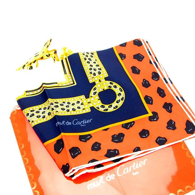 【中古】 カルティエ Cartier スカーフ パンサー レッド×ネイビー×ベージュ 100%シルク (あす楽対応)人気 激安 Y834 .