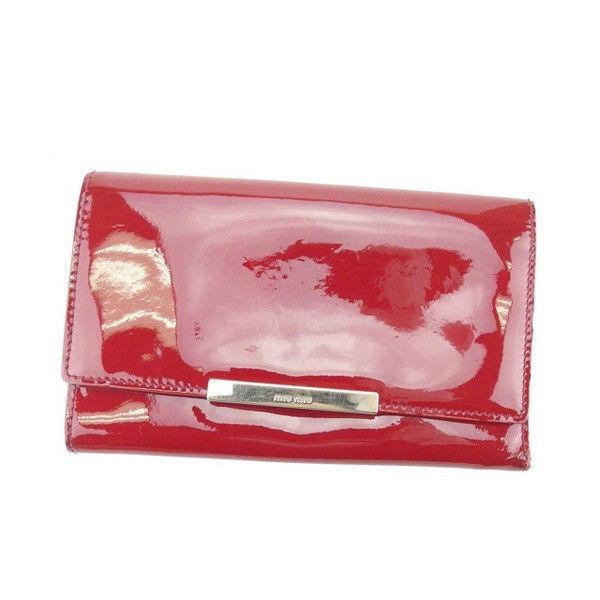 【中古】 ミュウミュウ miu miu 三つ折り財布 レディース レッド エナメルレザー (あす楽対応)人気 Y3753s