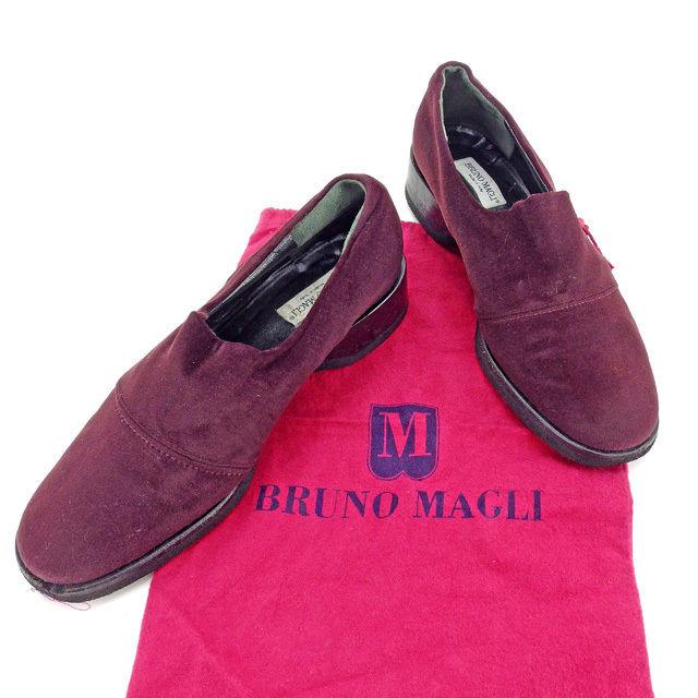 【中古】 ブルーノマリ Bruno Magli ローファー 靴 ダークパープル×ブラック ♯38 ラウンドトゥ レディース Y3912s