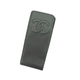 48bcf4c324 【中古】 シャネル Chanel 携帯ケース ブラック キャビアスキン レディース Y4047s