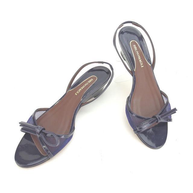 【中古】 ブルーノマリ Bruno Magli サンダル シューズ 靴 パープル ♯37ハーフ ウェッジソール リボン レディース Y4332s