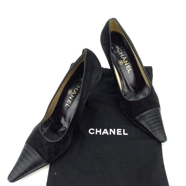 【楽天スーパーSALE】 【20%オフ】 【中古】 シャネル CHANEL パンプス シューズ 靴 レディース ♯35ハーフC ポインテッドトゥ ブラック スエード×レザー (あす楽対応)人気 Y4468