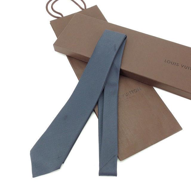 【中古】 ルイ ヴィトン Louis Vuitton ネクタイ レギュラータイ ダークグレー ロゴ刺繍 メンズ Y4534s
