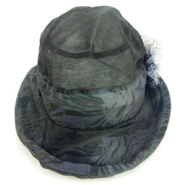 【中古】 ランバン LANVIN 帽子 ハット レディース ブラック シルク×ポリエステル (あす楽対応)美品 Y4864