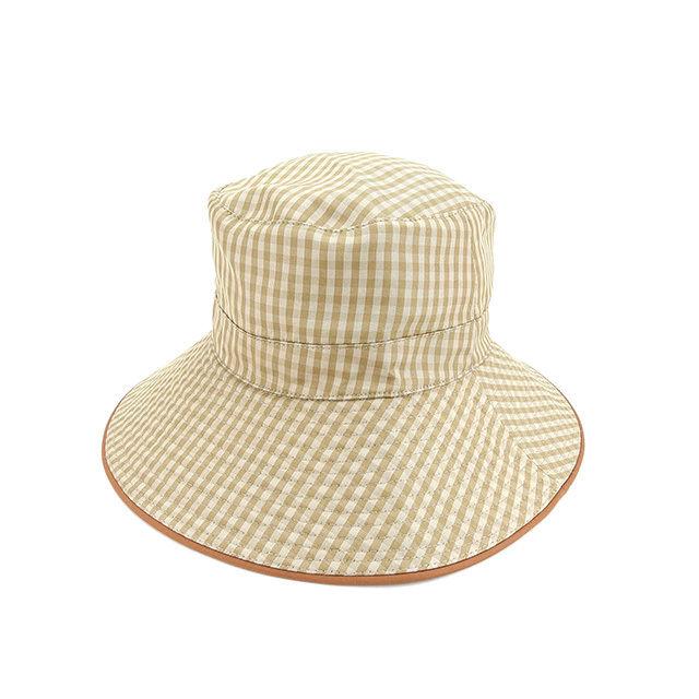 【中古】 エルメス HERMES 帽子 ハット レディース チェック ベージュ×ブラウン 絹/100%(パイピング)絹/100% 人気 Y5326 .