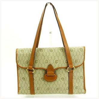 克裏斯琴迪奥Christian Dior手提包女士復古淺褐色×淺駝色PVC×皮革復古Y5635