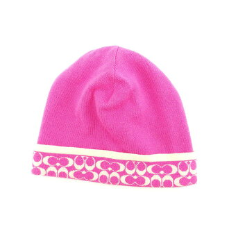 Coach COACH hat knit hat Lady's signature pink X ivory hair /100 % popularity sale Y5786