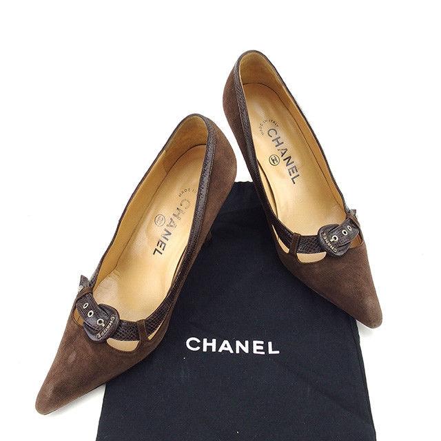【中古】 シャネル Chanel パンプス #34 1 2 ブラウン ココマーク レディース Y6063s