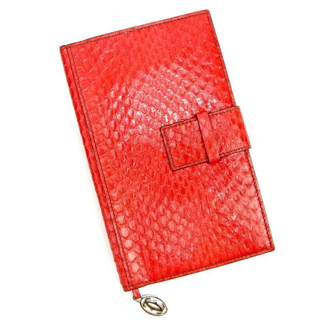 【中古】 カルティエ Cartier 手帳カバー レディース パイソン レッド レザー 良品 Y6552 .