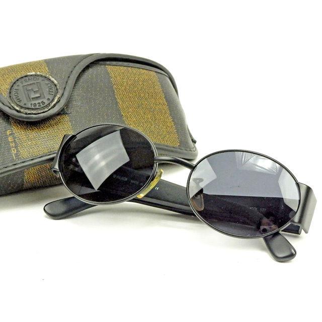 【中古】 フェンディ FENDI サングラス レディース メンズ 可 ロゴ ブラック 人気 Y6755