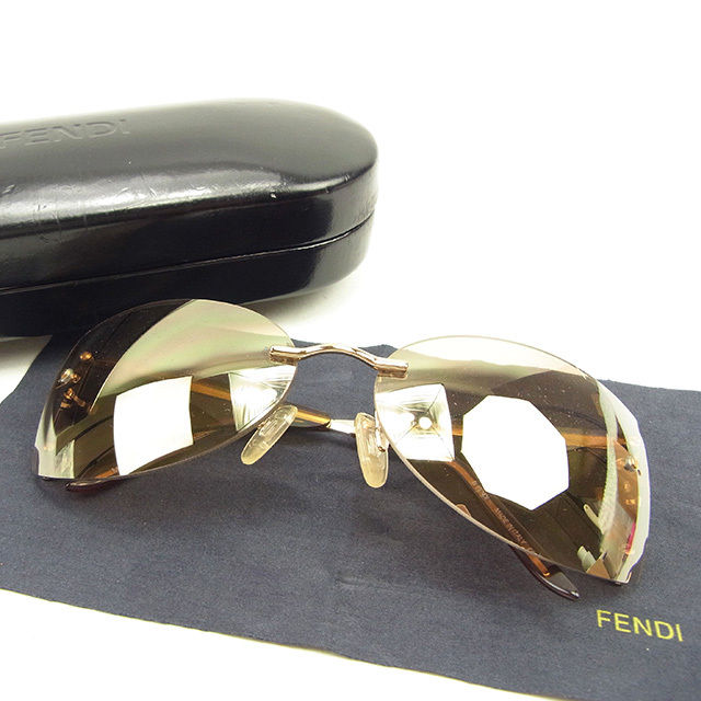【中古】 フェンディ FENDI サングラス メガネ メンズ可 ミラーレンズ Fモチーフ クリアブラウン×ゴールド系 プラスティック×ゴールド金具 良品 Y7018