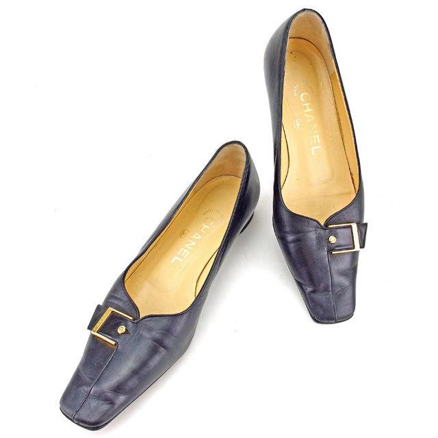 【中古】 シャネル Chanel パンプス シューズ 靴 ブラック×ゴールド ♯35ハーフC スクエアトゥ ベルトバックル レディース Y7082s