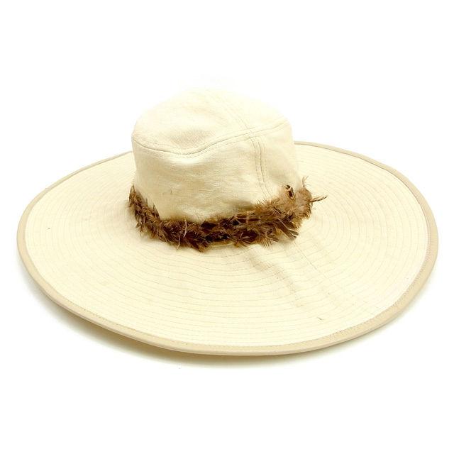 【中古】 グッチ GUCCI 帽子 つば広帽子 ハット レディース フェザー付き ベージュ×ブラウン コットン100%(裏地)コットン100%フェザー使用 人気 Y7375 .
