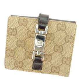 961c58427451 【中古】 グッチ Gucci Wホック財布 財布 二つ折り 財布 財布 ブラウン ベージュ ジャッキー
