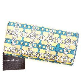 【中古】 パトリック コックス PATRICK COX L型ジップ長財布 長財布 二つ折り財布 財布 メンズ可 ベージュ×ホワイト×ターコイズブルー レザー 中古 訳あり 【未使用】 D1719 .