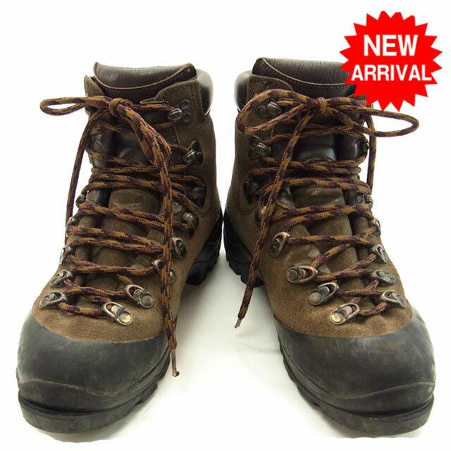 【中古】 モンベル mont-bell 登山ブーツ ロゴ ブラウン×ブラック スエード×レザー D438