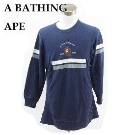 【中古】 ア・ベイシング・エイプ A BATHING APE トレーナー ネイビー 綿100% E248s .