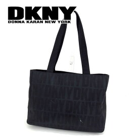 【中古】 ダナキャランニューヨーク DKNY トートバッグ ショルダーバッグ ロゴ柄 ブラック ナイロンキャンバス H446 .